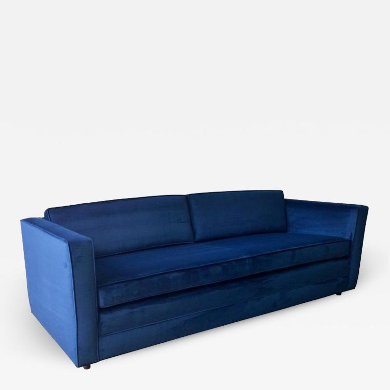 Milo Baughman Mid Century Modern Milo Baughman Style Tuxedo Sofa in New Blue Cotton Velvet