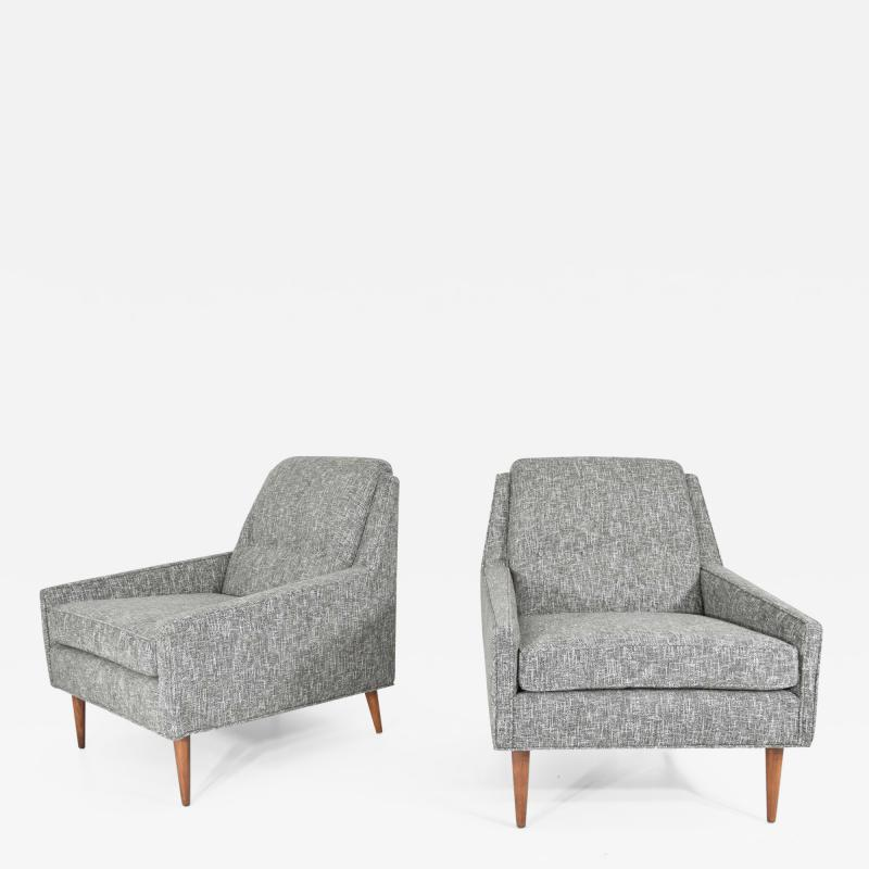 Milo Baughman Mid Century Modern Style Lounge Chairs in New Upholstery
