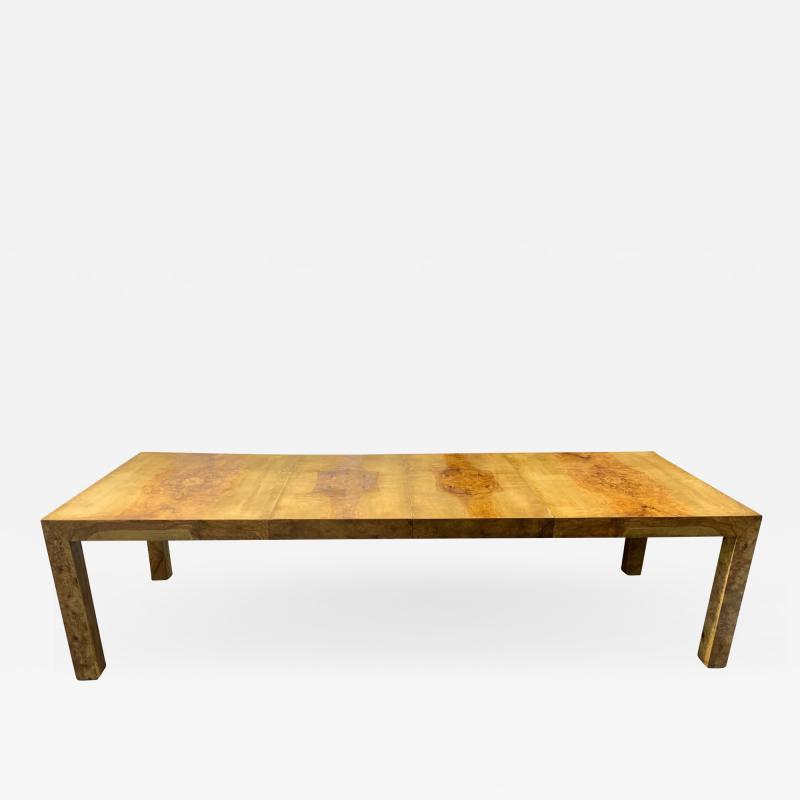 Milo Baughman Milo Baughman Burl Wood Dining Table with Two Leaves