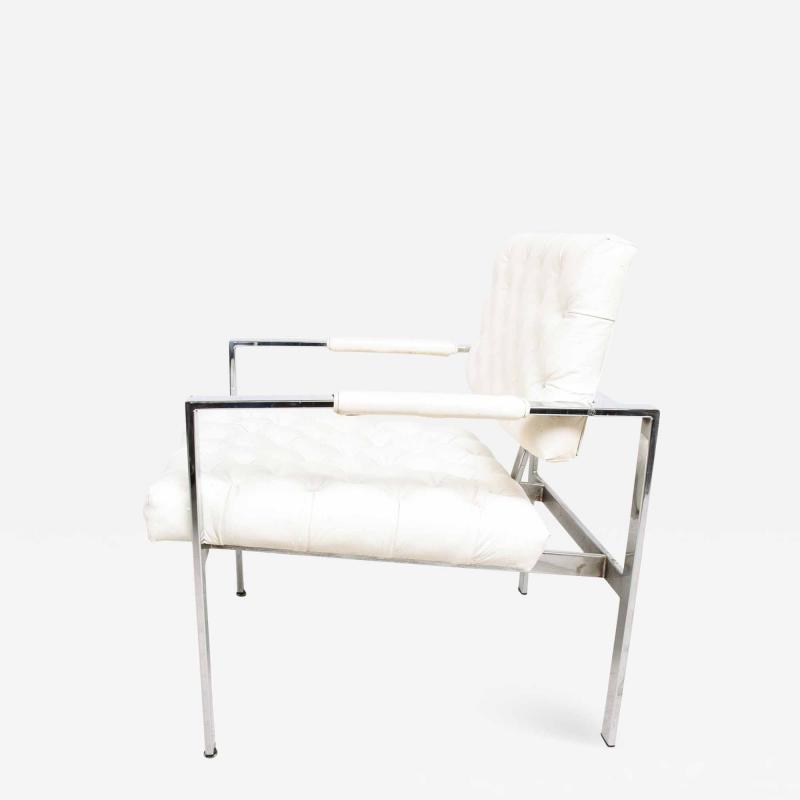 Milo Baughman Milo Baughman Faux Leather Chrome Tufted Lounge Chair Thayer Coggin 1960s