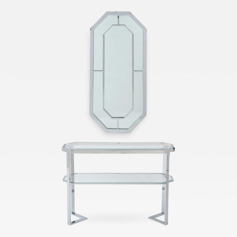 Milo Baughman Milo Baughman For Thayer Coggin Octagonal Mirror With Matching Console