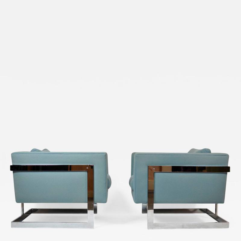 Milo Baughman Milo Baughman Large Cube Lounge Chairs