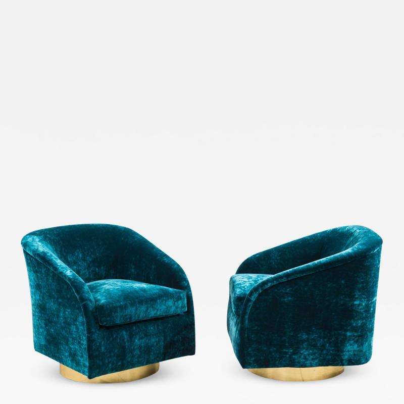 Milo Baughman Milo Baughman Pair of Teal Velvet Swivel Chairs USA