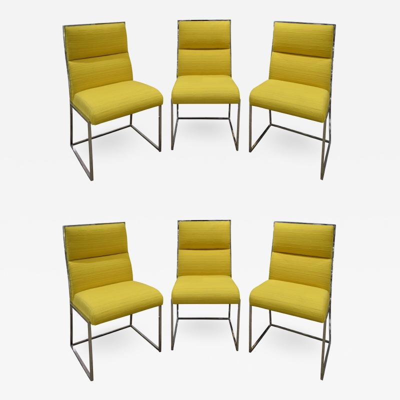 Milo Baughman Milo Baughman Set of 6 Dining Chairs in Polished Chrome 1970s