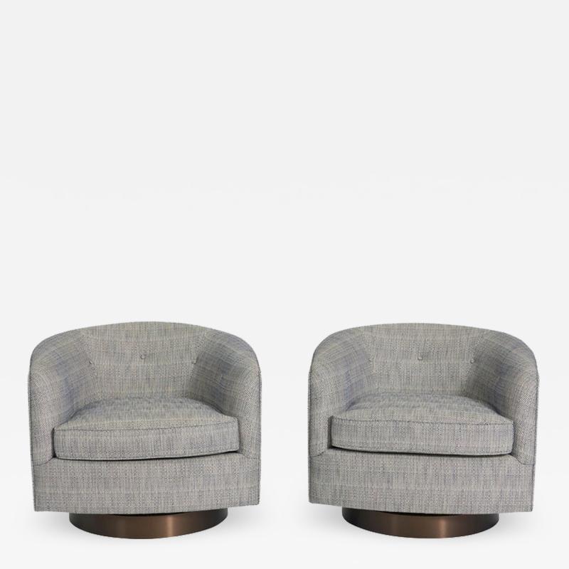 Milo Baughman Milo Baughman Swivel Chairs on Bronze Bases