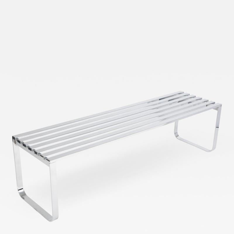 Milo Baughman Milo Baughman slatted chrome bench for DIA circa 1970s