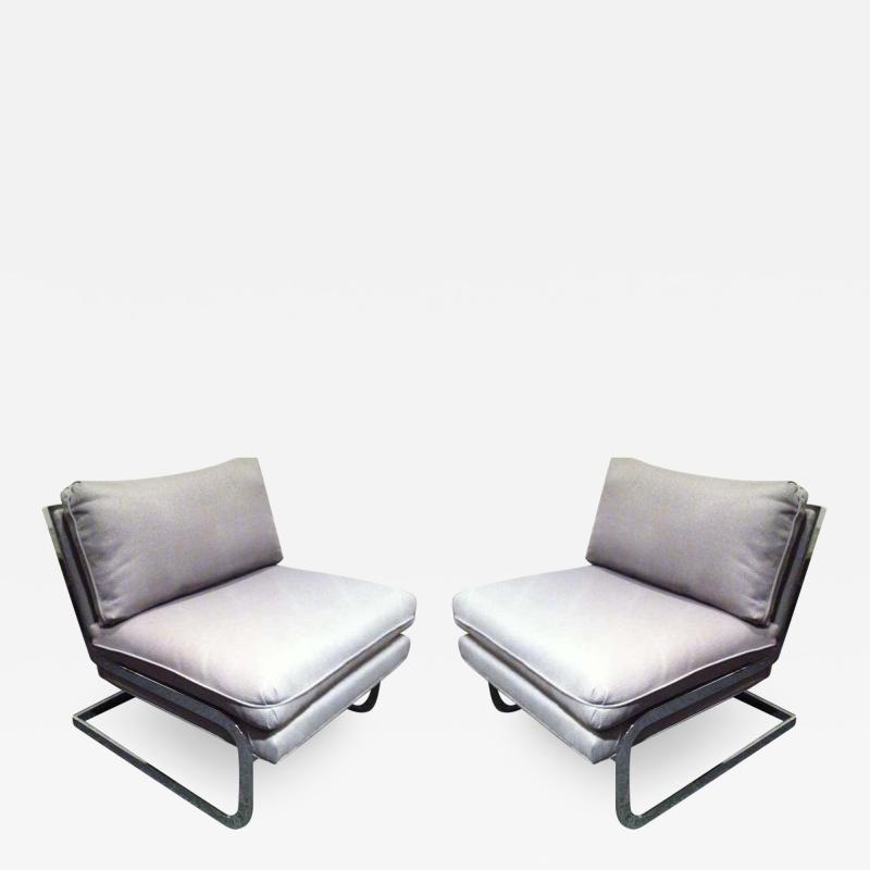 Milo Baughman Pair Mid Century Milo Baughman style S shaped Cantilever Club Chairs
