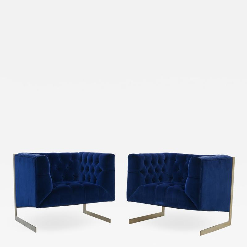 Milo Baughman Pair Mid Century Modern Milo Baughman Style Brass Cantilever Lounge Club Chairs
