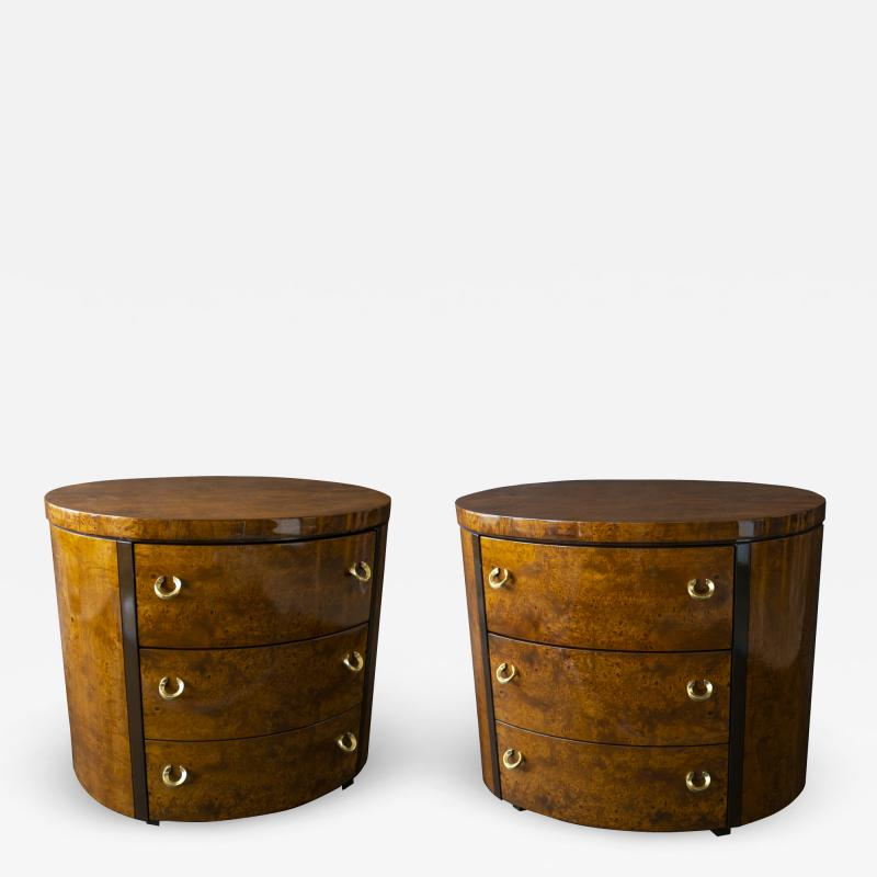 Milo Baughman Pair of American Modern Burled Walnut and Brass Oval Bedside Side Tables