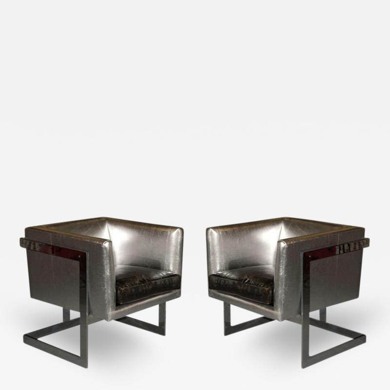 Milo Baughman Pair of Cube Lounge Chairs by Milo Baughman for Thayer Coggin