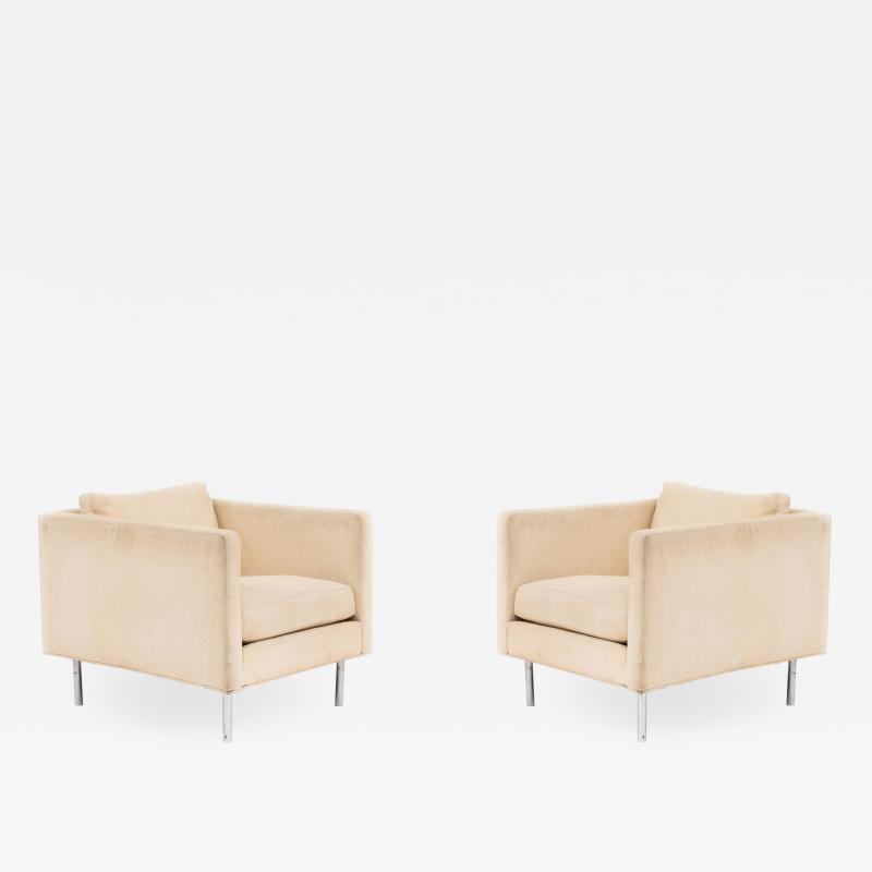 Milo Baughman Pair of Mid Century Beige Upholstered Arm Chair