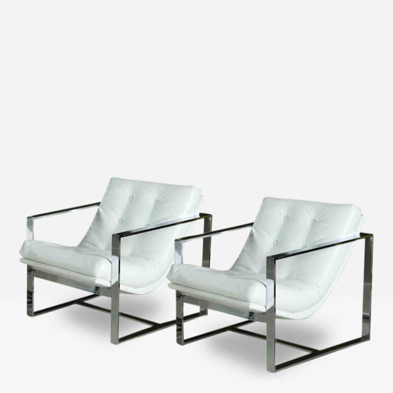 Milo Baughman Pair of Milo Baughman Chrome White Leather Cube Chairs