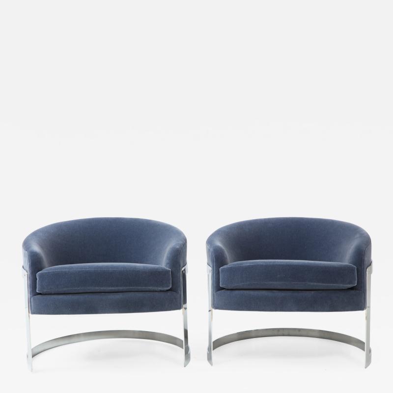 Milo Baughman Pair of Milo Baughman Club Chairs