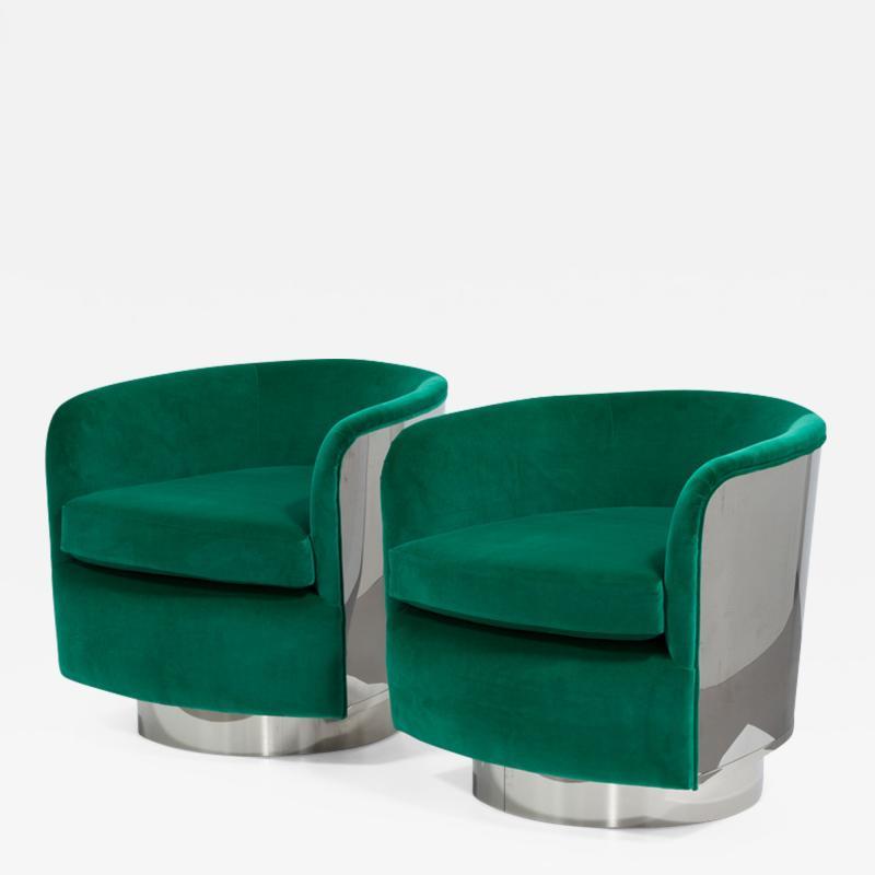 Milo Baughman Pair of Milo Baughman Steel Wrapped Swivel Chairs 1970s