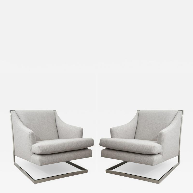 Milo Baughman Pair of Milo Baughman Wool and Chrome Chairs