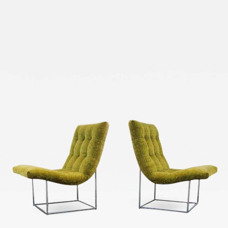 Milo Baughman Pair of Milo Baughman for Thayer Coggin Scoop Lounge Chairs