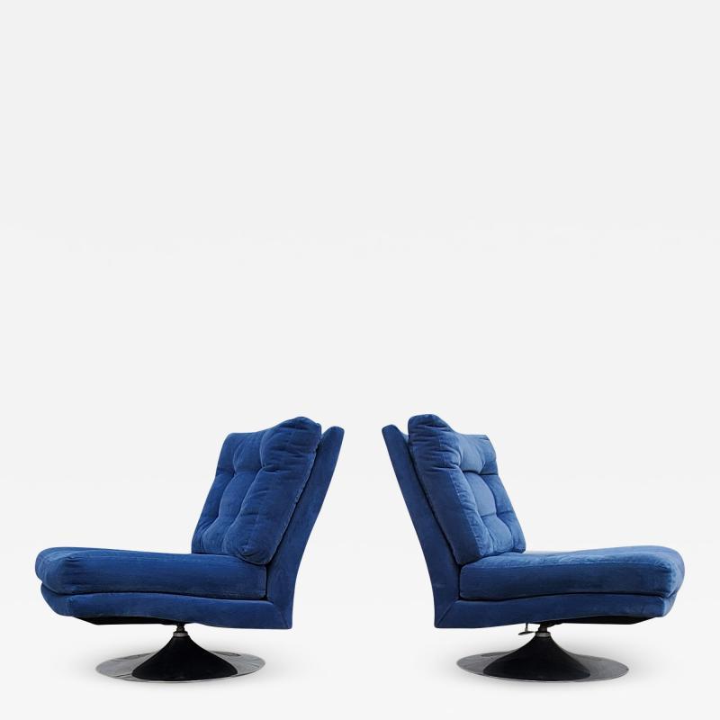 Milo Baughman Pair of Milo Baughman for Thayer Coggin Tilt Swivel Lounge Chairs