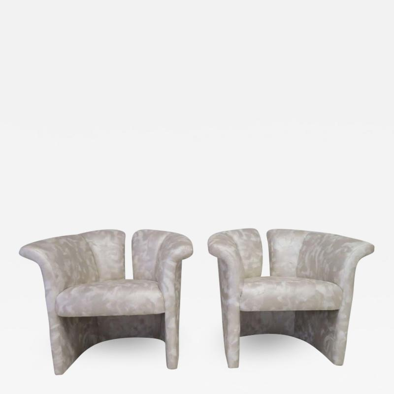 Milo Baughman Pair of Signed Milo Baughman Barrel Back Lounge Chairs Mid Century Modern