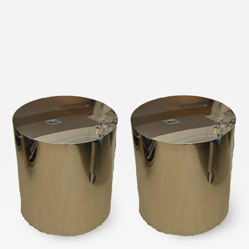 Milo Baughman Pair of Stainless Steel Drum Tables by Milo Baughman