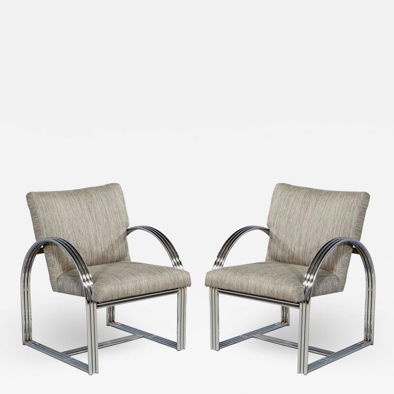 Milo Baughman Pair of Vintage Mid Century Modern Accent Chairs