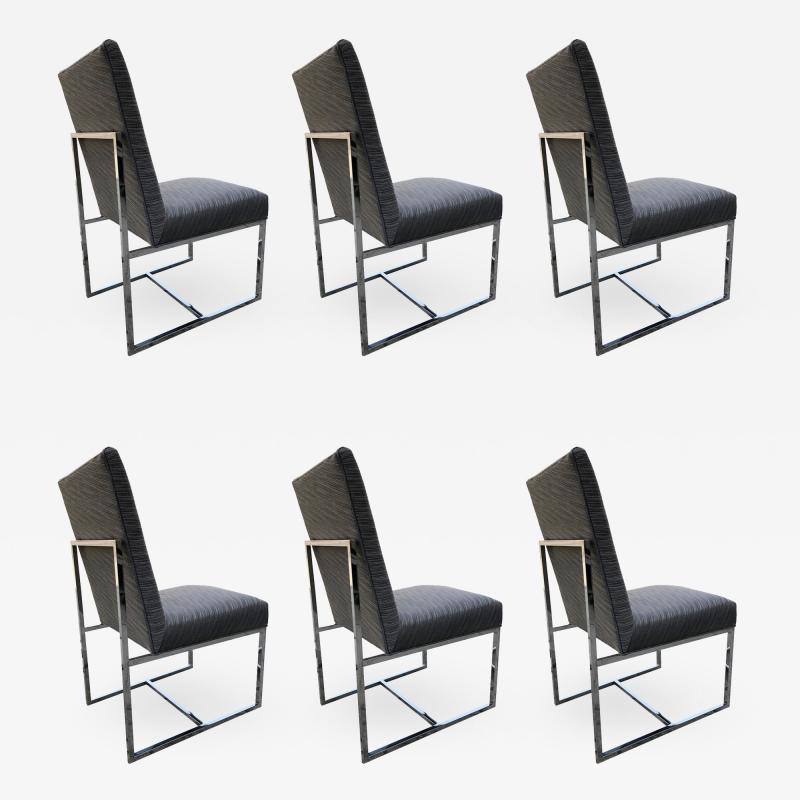 Milo Baughman Set of 6 Milo Baughman Chrome Chairs for Thayer Coggin