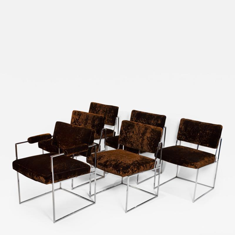 Milo Baughman Set of 6 Milo Baughman Dining Chairs for Thayer Coggin 1960s Chrome and Velvet