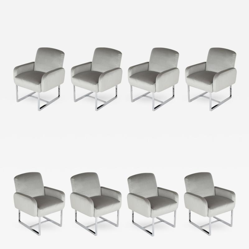 Milo Baughman Set of Milo Baughman for Thayer Coggin Dining Chairs on Wheels