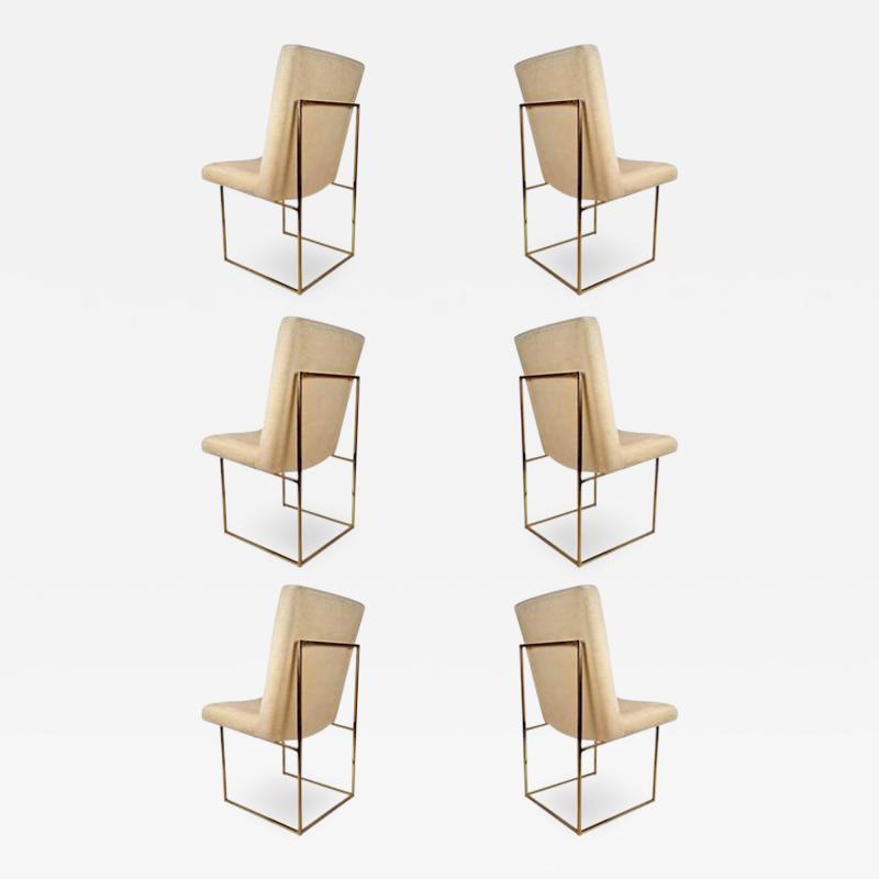 Milo Baughman Set of Six Milo Baughman Architectural Brass Dining Chairs
