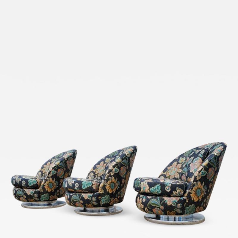 Milo Baughman Set of Three Milo Baughman Tilt Swivel Lounge Chairs Chrome Bases