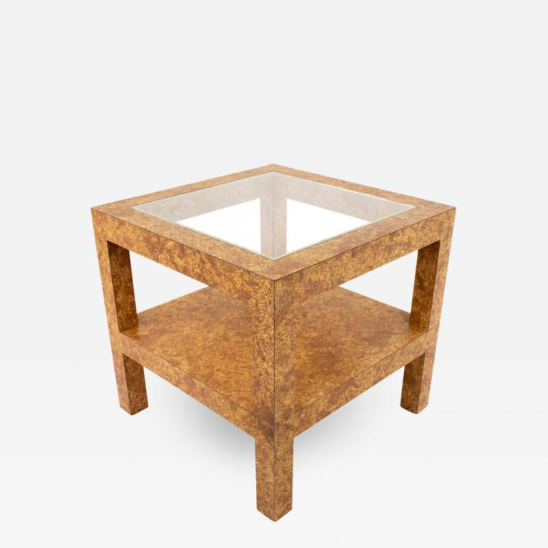 Milo Baughman Style Mid Century Burlwood Formica and Glass Coffee Table