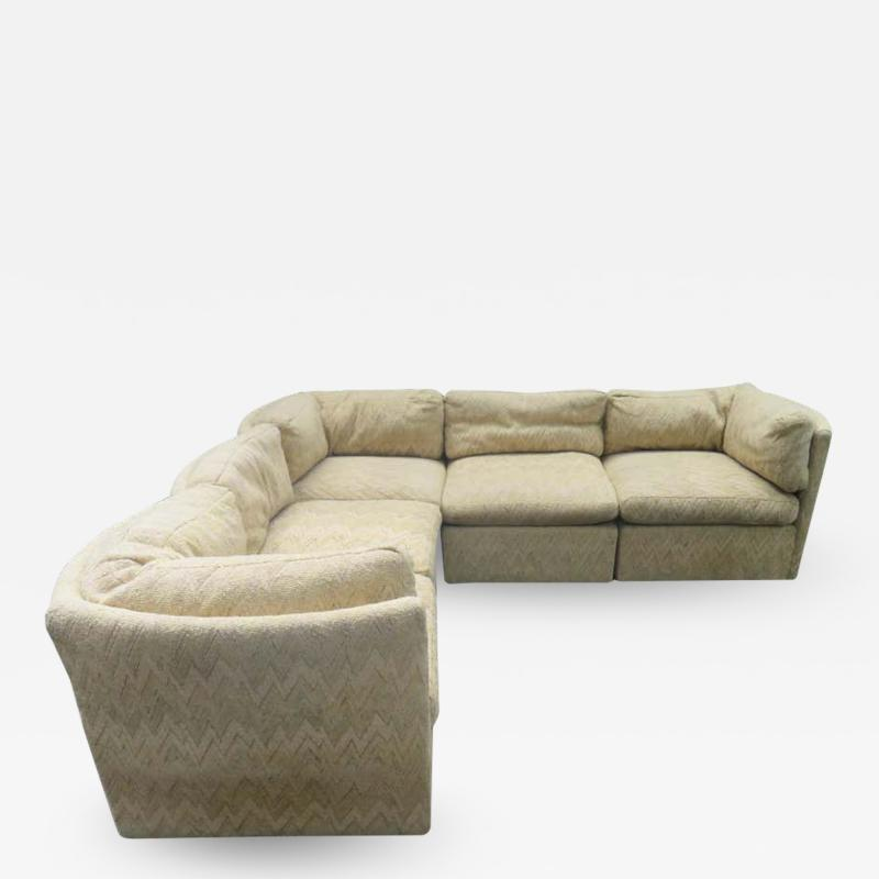 Milo Baughman Wonderful 5 Piece Signed Milo Baughman Curved Back Cube Sectional Sofa