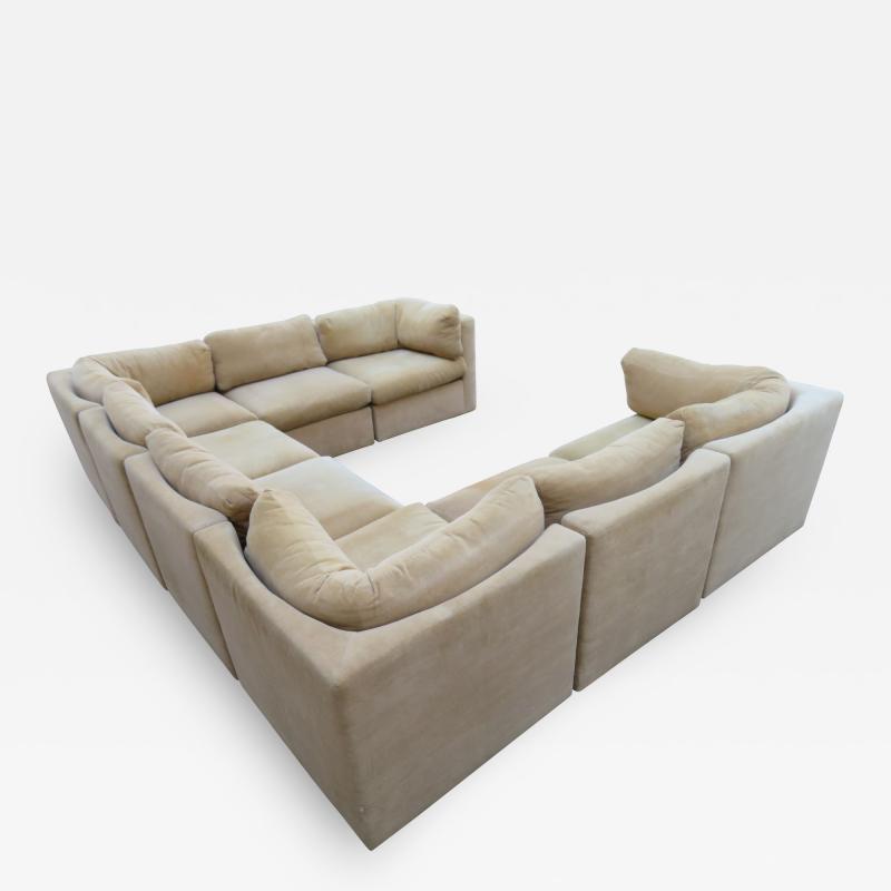 Milo Baughman Wonderful 8 Piece Milo Baughman Curved Seat Sectional Sofa Mid Century Modern