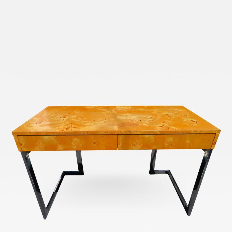 Milo Baughman Wonderful Milo Baughman Olivewood Chrome Desk Mid Century Modern