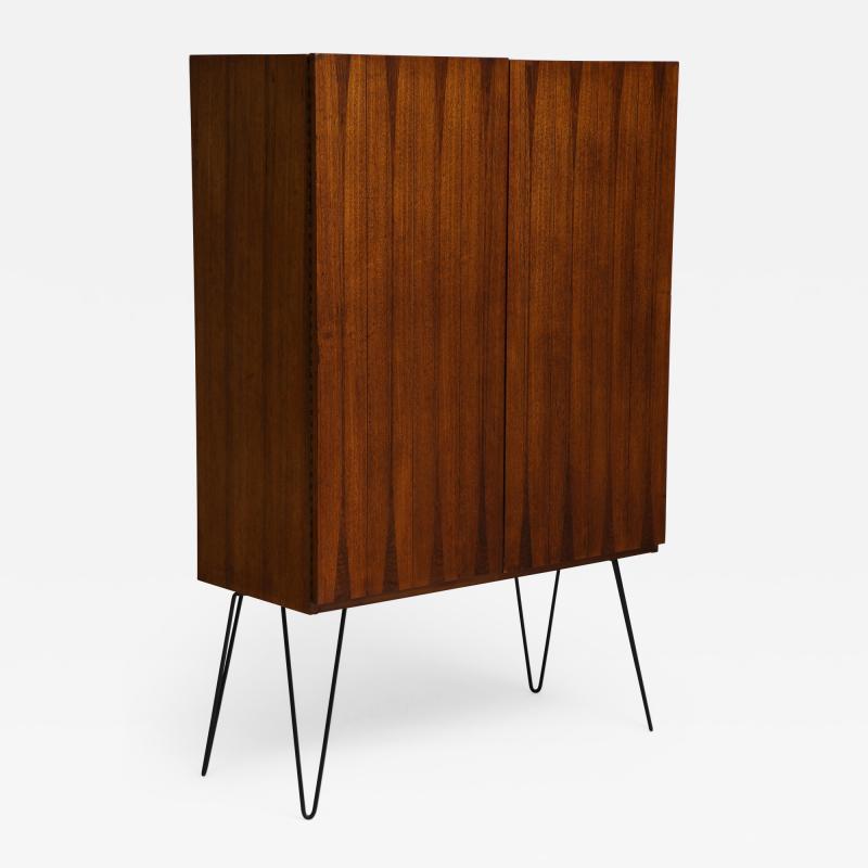 Minimalist mahogany cabinet with subtle rosewood inlay