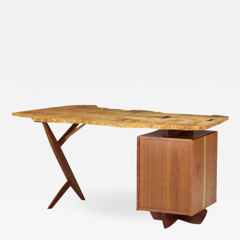Mira Nakashima Mira Nakashima Conoid Desk in Indian Laurel American Walnut Myrtle Burl