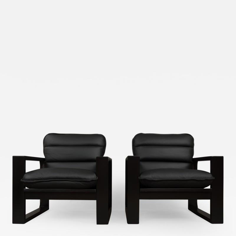 Miroslav Navratil Miroslav Navratil black wood and leather lounge chairs