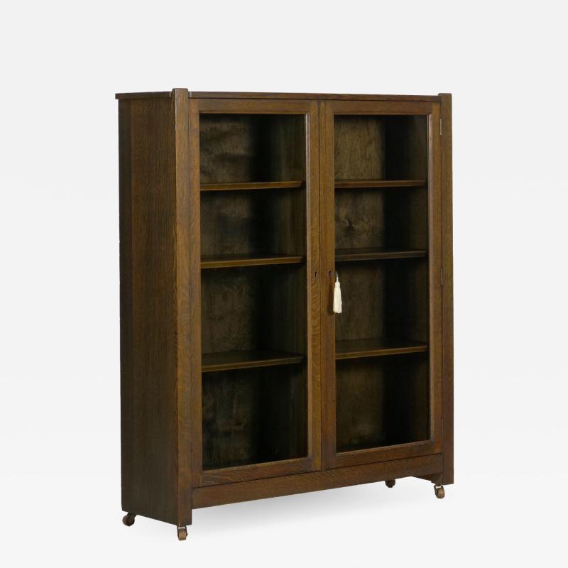 Mission Arts Crafts Oak Antique Bookcase Bookshelf Cabinet 20th Century