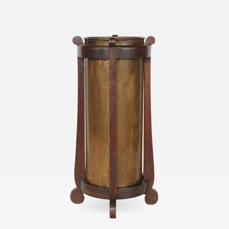 Mission Oak and Brass Umbrella Stand by the Lakeside Craft Shops