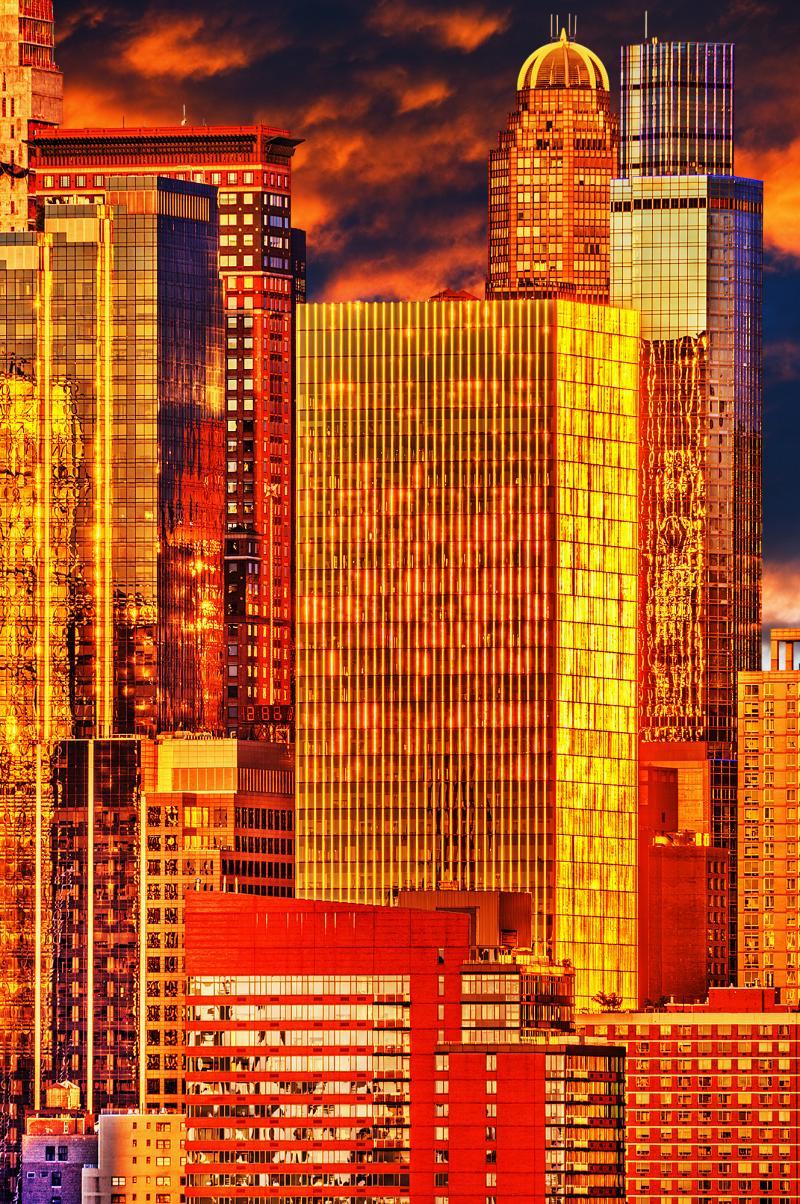 Mitchell Funk City of Gold Mahattan skyline in a golden light
