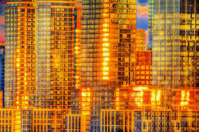 Mitchell Funk Golden Reflections off Manhattan Skyscrapers