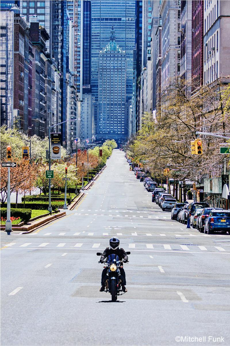 Mitchell Funk Lone Motorcycle on Empty Part Avenue