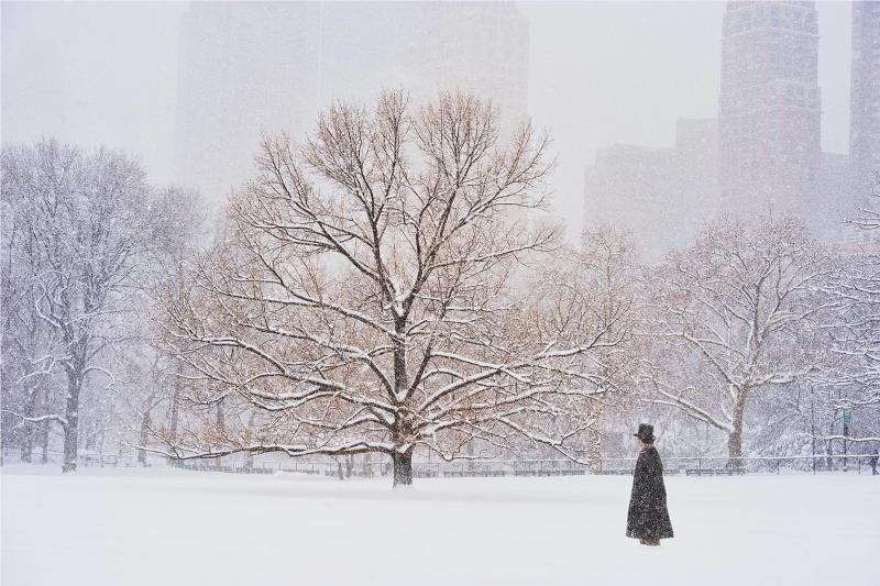 Mitchell Funk Man With Top Hat In Central Park During Snowstorm