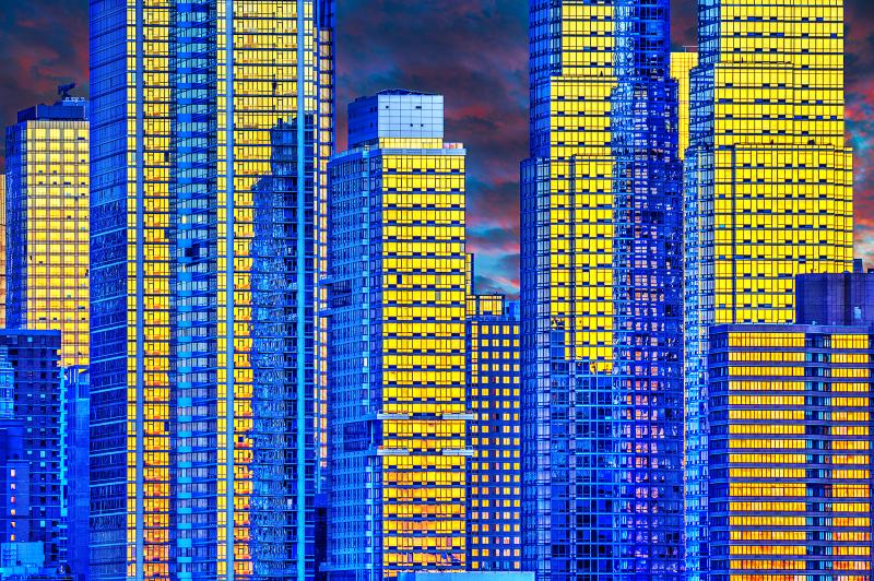 Mitchell Funk Manhattan Gold and Blue Reflections