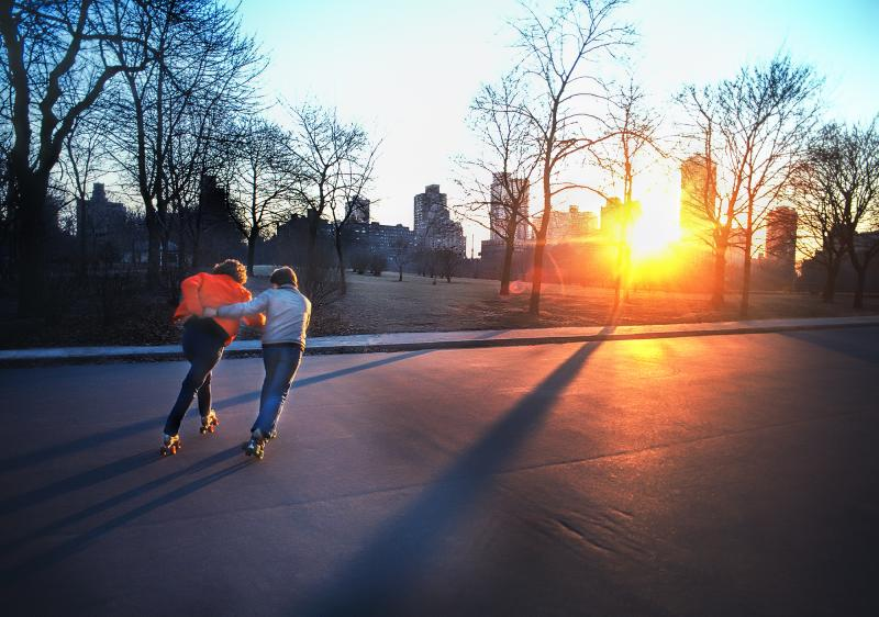 Mitchell Funk Skaters in Central Park at Sunset