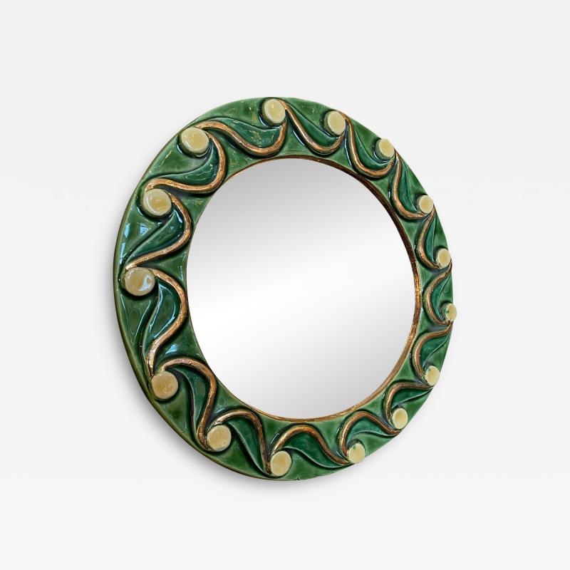 Mithe Espelt Ceramic Mirror France 1970s