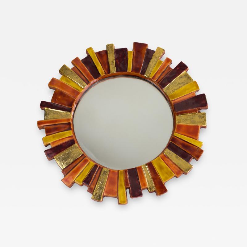 Mithe Espelt Mith ESPELT 1960s Gilded Ceramic Mirror not Lembo