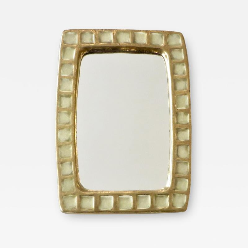 Mithe Espelt Mithe Espelt French Gold Glazed Ceramic and Fused Glass Wall Mirror