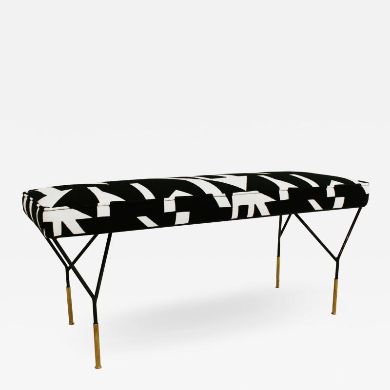 Modern Black Lacquered Iron and Patterned Cotton 1970s Italian Stool