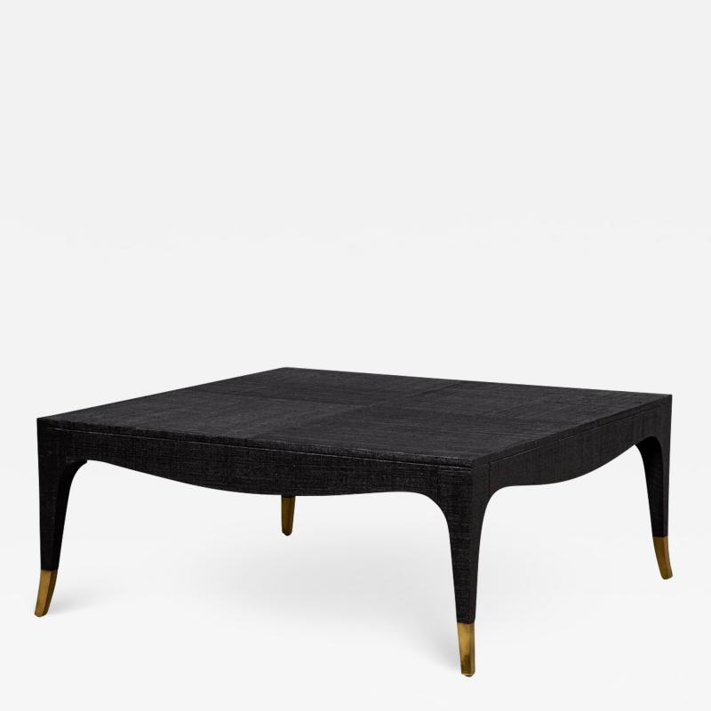 Modern Black Linen Clad Coffee Table
