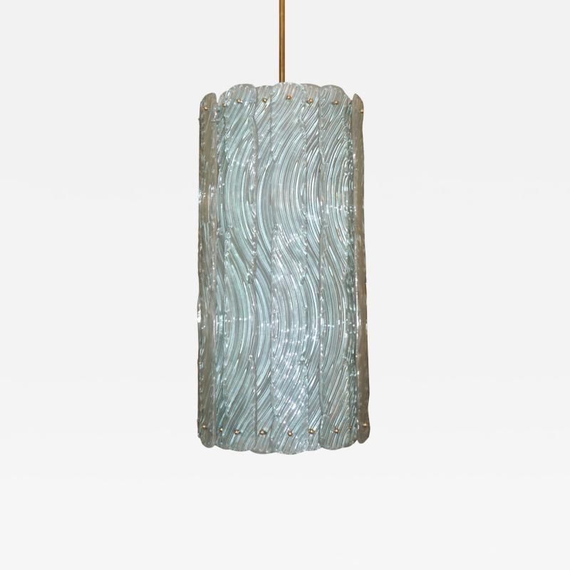 Modern Italian Aquamarine Crystal Murano Glass Tall Brass Lantern Chandelier